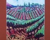 Print of my Original painting of Vineyard fields with signed matt  Linda Kelly
