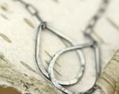 Statement earrings teardrop earrings blackened sterling silver Hammered long earrings