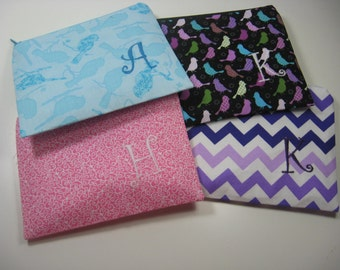 Set of 4 - Small Personalized Makeup Bags - Personalized Clutch - Monogrammed Zipper Pouch - Your Choice, Made to Order