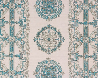 1960s Vintage Wallpaper Blue Medallion Cool Design by the Yard--Made in West Germany