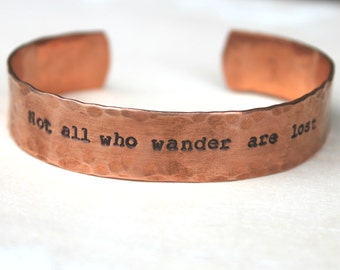 FREE SHIPPING. Custom Quote, Song, Lyric Handstamped Cuff Bracelet. Silver Aluminum or Copper.