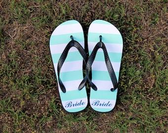 Personalized Bridal Stripe Flip Flops