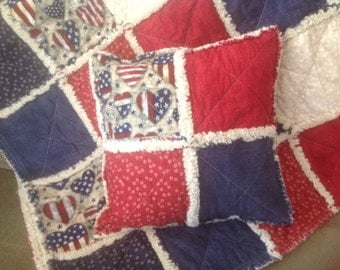 Americana Rag Quilt and Pillow