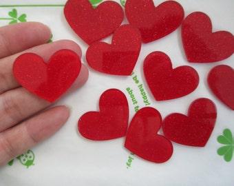 Glitter heart acrylic cabochons 4pcs 32mm x 26mm Red new item