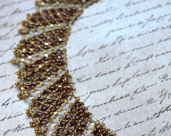 Hand Beaded Collar Necklace, with Over  300 lavender Swarovski 3mm Crystals, 24 kt gold plated Matte Gold size 15 bead beads