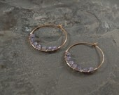Winter Waves Simply Hammered Hoops - Tanzanite - Gold - Silver - One of a Kind