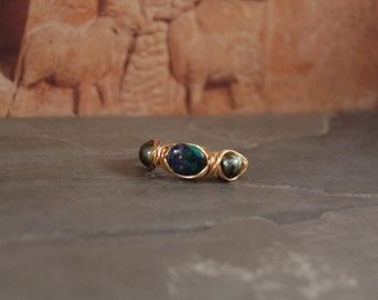 Nautical Wrap Ring - Gold - Gemstone - Pearl - Size 9 - One of a Kind