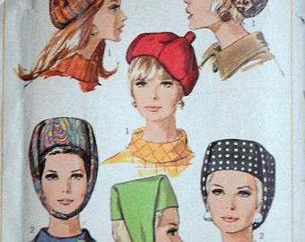 Simplicity 7326 Vintage 60's Sewing Pattern, Misses' Hats, One Size, Retro/Mod 1960's Accessories, Millinery Pattern