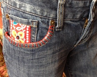 Vintage 70s Inspired Boho Hippie Embellished Jeans, Vintage  Trims, Embroidery ...size XS/S