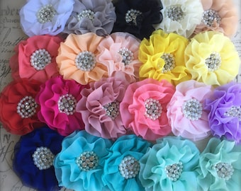 FLOWERS-Rhinestone and Pearl Center-Your CHOICE  of EIGHT----4 inches wide