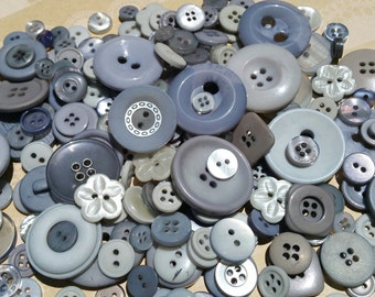 Gray Buttons - Assorted Grey Bulk Sewing Button - 100 Buttons - Silver Linings