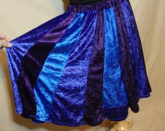 Deep Blues - Blue Purple and Indigo Panne Crushed Velvet Velour Short Panel Skirt Elastic Waistband Size Medium/Large