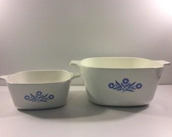 VTG Cornflower Corning Ware Casserole Dishes // Set of 2 // Baking