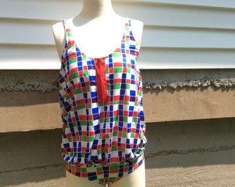 VTG One Piece Maternity Swimsuit // Materna // Size 8 // Made in USA // Zippered Swimwear