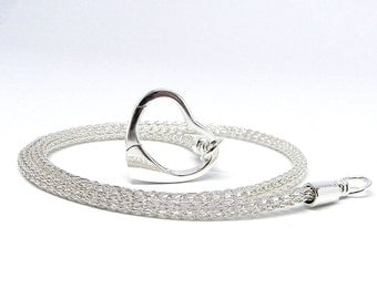 Discreet Slave Collar Sterling Trichinopoly Hand Woven Chain Necklace with Sterling Clasp Made To Size