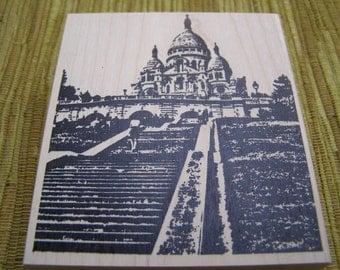 Sacre Coeur in Paris wood mounted Rubber Stamp