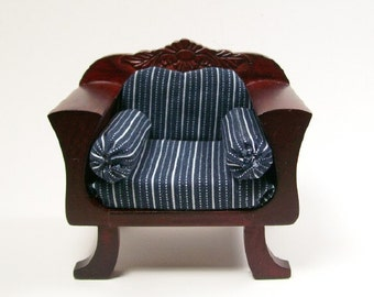 Blue Chair Upholstered Carved Mahogany 1:12 Dollhouse Miniature Scale Artisan