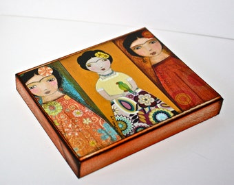 Three Fridas -  Giclee print mounted on Wood (4 x 5 inches) Folk Art  by FLOR LARIOS