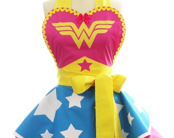Retro Apron - Hot Pink Superhero Wonder Woman Apron - Vintage Apron Style - Pin up Rockabilly Cosplay