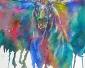 Emergence- A Gorgeous Moose Watercolor Giclee Print 8 x 10