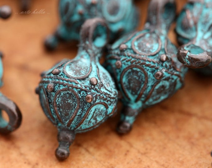 FRILLS .. 2 Mykonos Greek Decorative Drop Charm 13x20mm (M05-2)