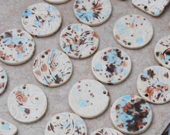 Handmade Pottery Beads 2 piece set in Mocha Mint