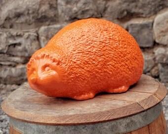 Hedgehog, Ceramic, Orange, Indoor/Outdoor Art Sculpture