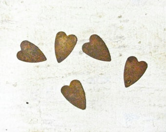 Rusty Tin Metal Hearts, Wedding Decorations, Wreaths, Scrapbooking,Card Making,Art Projects, 5 hearts