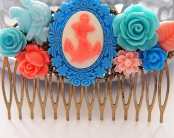 Cotton Candy Anchor Cluster Comb -  Fascinator Kitschy Cool Pink Blue Candy Floss Sweet Lolita