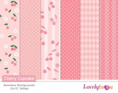 Pink cherry, Digital paper pattern seamless background designs (TPS14)
