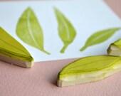 Gum Leaf hand carved rubber stamp set, handmade gum leaves, nature rubber stamps