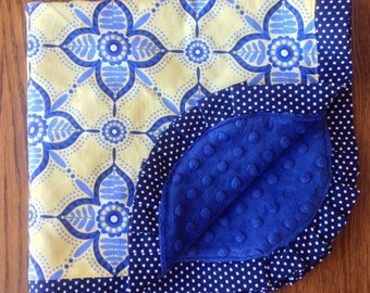 NEW...Yellow and Blue Modern Flower Minky Blanket...Can be Persoanlized