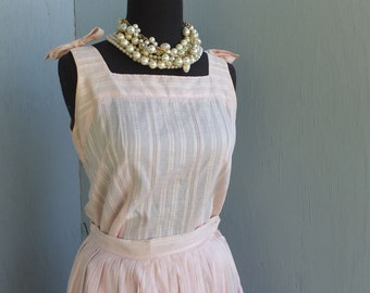 1950s 2pc Pink Circle Skirt and Blouse, Robbie of California, Fit and Flare Sun Dress, Pink Cotton Suit