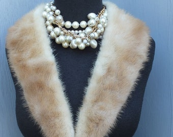 Vintage MINK Fur Collar  /  3 inches by 32 inches