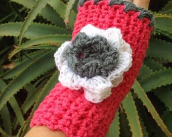 Handmade Crochet Gloves Fingerless Mitts Womens Gloves Pink Grey and White