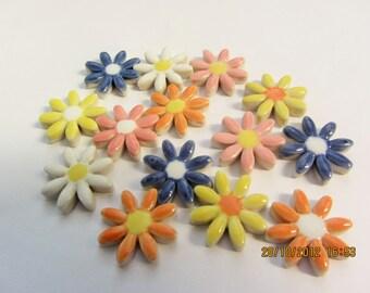 14 daisy style flower shape ceramic mosaic tiles