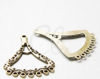 10pcs Antique Brass Tone Base Metal 7 to 1 Earring Component - 42x31mm (3630X-W-169)