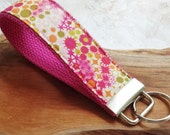 Fabric Wrist Key Chain / Key Fob / Fabric Keychain / Pink Fireworks