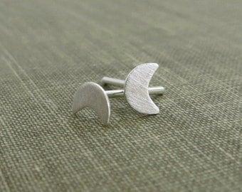 Sterling Silver Post Earrings - Petite Crescent Moon - Brushed Finish - Simple Modern Minimal Earrings