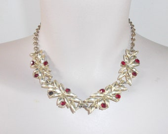 1950s Vintage Gold Tone Choker Necklace with Ruby Red Rhinestones Adjustable