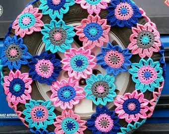 Flower Patch Crochet Spare Tire Cover