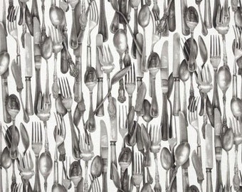 One (1) Yards-Kiss the Cook Silverware Fabric Robert Kaufman Silver