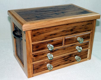 Reclaimed Wormy Chestnut and Hickory Jewelry Chest