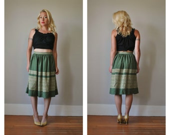 1950s Woven Olive Skirt, size Extra Small