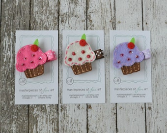Felt Cupcake Hair Clip Set - Hot Pink, White, Lavender and Chocolate Brown - set of 3 - A cute birthday girl clip or birthday party favor