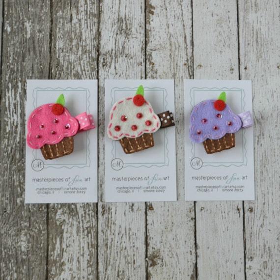Felt Cupcake Hair Clip Set - Hot Pink, White, Lavender and Chocolate ...