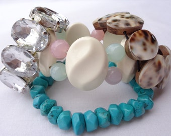 Bracelet lot of 4  shell faux turquoise rhinestone plastic Recycle Supplies