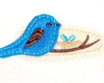 Blue bird on a branch Hair clip Hair barrette #140