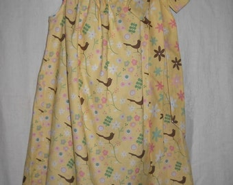 Toddler - Little Girls' dress - Yellow Floral with little birds