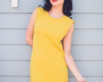 Georgia Yellow Open Back Organic Cotton Dress Made to Order